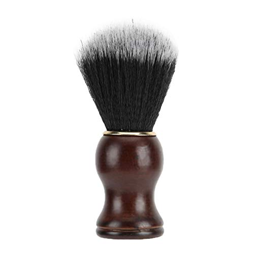 Cepillo de barba portátil para hombre, mango de madera, cepillo de afeitar con espuma, para limpieza facial, herramienta de aseo, cepillo de bolsillo para el cuello, limpieza de pelo facial