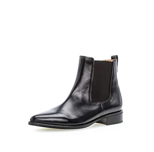 Gabor Damen Stiefeletten, Frauen Chelsea Boots,Chelsea Boots, Stiefel halbstiefel Bootie Schlupfstiefel flach,schwarz,37.5 EU / 4.5 UK