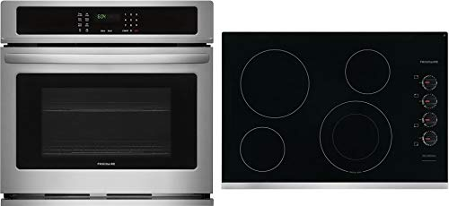"""Frigidaire 2 Piece Kitchen Appliances Package with FFEW2726TS 27"""" Electric Single Wall Oven and FFEC3025US 30"""" Electric Cooktop in Stainless Steel"""