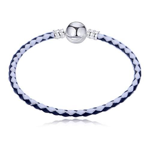 Pulsera Brazalete, Joyeria Regalo, Multicolo Double Braided Chain & Link Bracelets Compatible DIY Beads Fit Pan Bracelet Leather Charm Bracelets For Women Black Zinc Plated 38cm