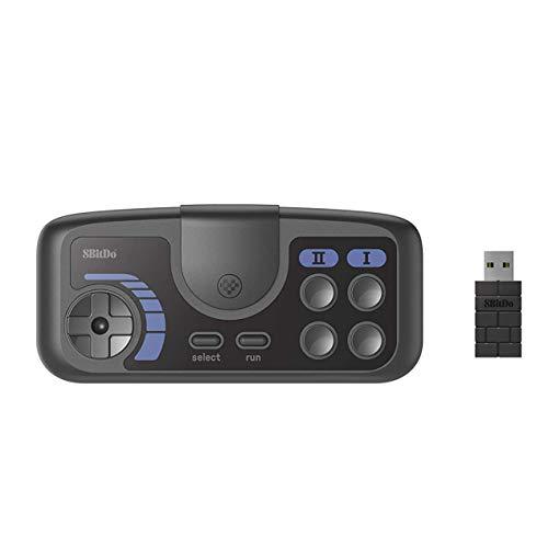 QUMOX Gamepad Inalámbrico de 8 bits Compatible con PC Engine Mini CoreGrafx Mini TubroGrafx-16 Mini Switch (Gris Oscuro, PCE 2.4g)