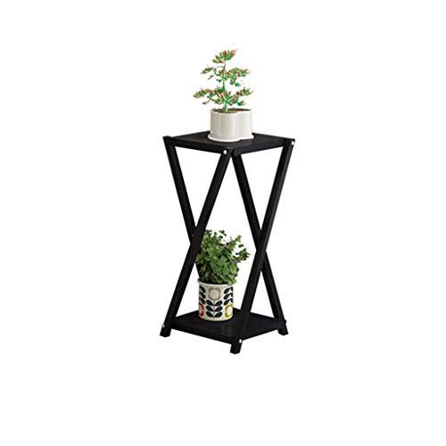 genral Blumenständer 2 -Tier Eisen, Wohnzimmer Balkon Blumenregale, Indoor Outdoor Metall Schwarz Stehgestell Bonsai Display Stand 29 * 29 * 100cm cm