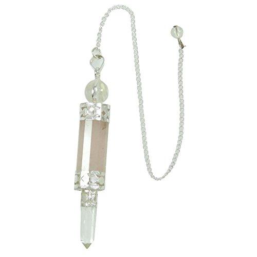 Péndulo Rosado de Cristal de Cuarzo Rosa - Radiestesia Reiki -Luz de Piedra de Equilibrio