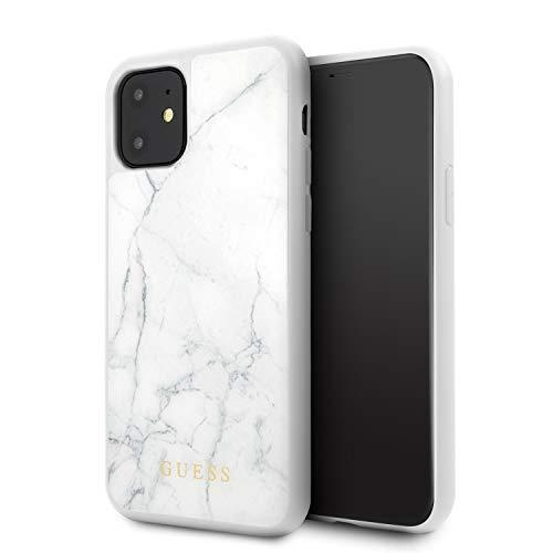 GUESS Marble Funda para iPhone 11 Protector Blanco Resistente a Impactos Acabado Marmoleado