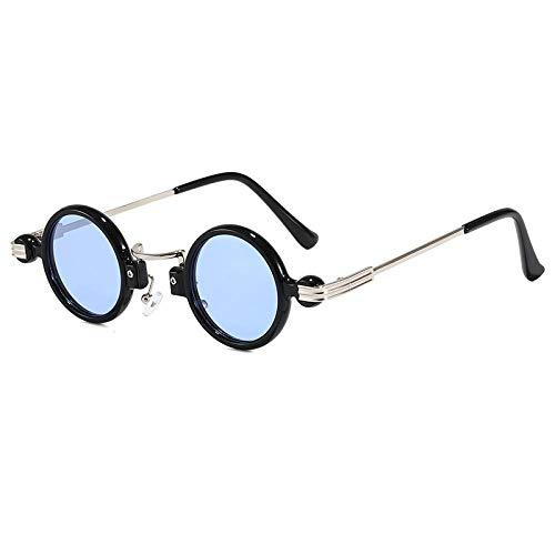 Gafas de sol retro europeas y americanas, personalidad femenina, gafas de sol redondas de hip-hop, como se muestra, marco negro, película azul