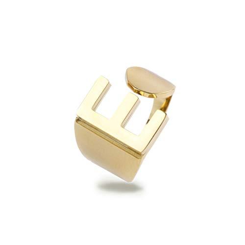 Hedoné - Anillo con letras A-Z para hombre y mujer de acero inoxidable chapado en oro hipoalergénico - E