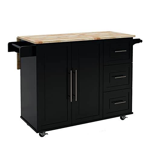 Kitchen Island Cart with Wood Top CQYS HOUSEWARE Kitchen Island Storage Cart on Wheels with Wood Top Large Storage Space for Kitchen 53.54 (L) x 16.93 (W) x36.02(H)(Black