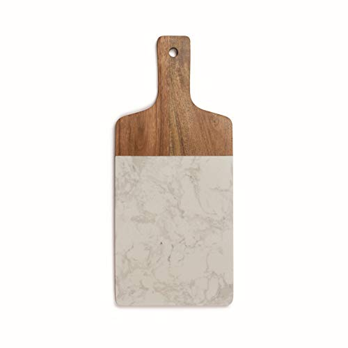 Tabla de cortar de madera con mango, tabla de cocina de mármol, 37 x 16 cm, tabla de trinchar, tabla de madera con gancho para colgar, tabla cuadrada para servir, color blanco mármol