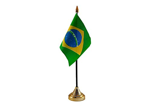 Flaggen-Tischständer oder wehende Fahne, Motiv brasilianische Flagge–ohne Boden