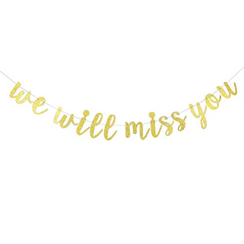 Gold Glitter We Will Miss You Banner - Retirement Party Decorations / Retirement Banner / Retirement Sign / Going Away Party Decor / Farewell Party Decorations / Office Work Party Decorations