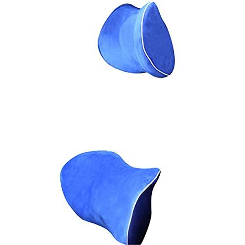 CZYHP Juego de almohada para reposacabezas de coche, soporte para el cuello, espuma viscoelástica, silla de oficina, asiento de coche, reposacabezas y soporte lumbar, color azul