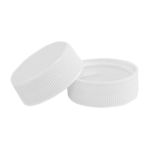 North Mountain Supply 28mm White Plastic Screw Caps with F217 Foam Liner - Pack of 15 Leak Proof Lids
