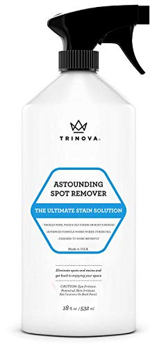 Carpet Spot Remover Spray - Cleaner for Stains on Rugs, Upholstery, Fabric and More. Red Wine Eliminator and Eraser for Most Surfaces. 18oz trinova