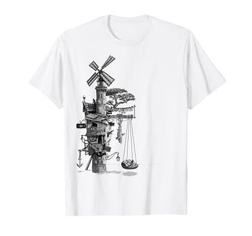 Schwimmende Mühle Leuchtturm im Ozean T-Shirt