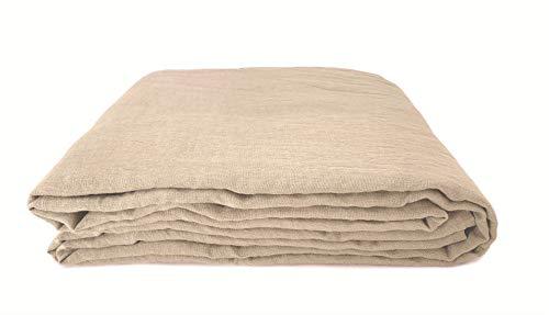 JOWOLLINA 100% Leinen Stonewashed Laken Bettlaken Überwurf (240x260 cm, Safari)