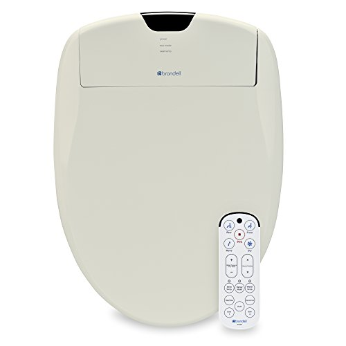 Brondell Swash 1400 Luxury Bidet Toilet Seat, Fits Elongated Toilets, Biscuit – Bidet – Dual Stainless-Steel Nozzles with Sterilization, Warm Air Dryer, Ambient Nightlight