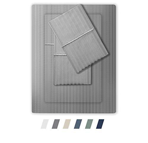Feather & Stitch 500 Thread Count 100% Cotton Stripe Sheets + 2 Pillowcases, Soft Sateen Weave, Deep Pocket, Hotel Collection, Luxury Bedding Set (Grey, Split King)