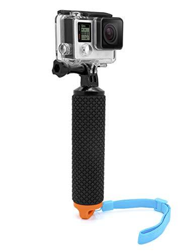 MyGadget Schwimmender Action Kamera Handler Stick - Rutschfester Handgriff Monopod Wasser Zubehör für z.B. GoPro Hero Black 7 / 8 6 5 4 3+ 3, Xiaomi Yi 4K - Orange