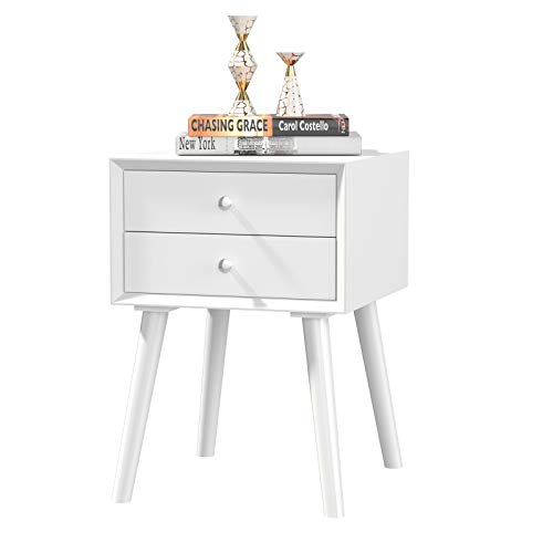 Multigot Bedside Table, Night Stand Storage Cabinet with two Drawers & Solid Wood Legs, Sofa End Table for Bedroom, Living Room and Office (Pure White)