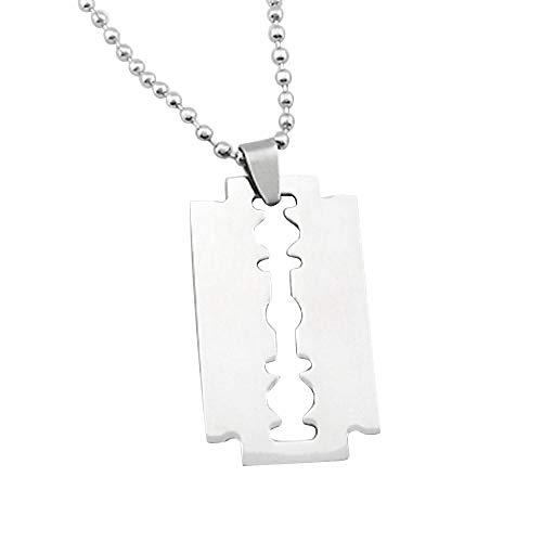 Halskette Herren Edelstahl Rasiermesser Anhänger Silber Farbe Kugelklinge Kette Halskette Herren Schmuck Stahl Männchen Rasierer Form Halskette