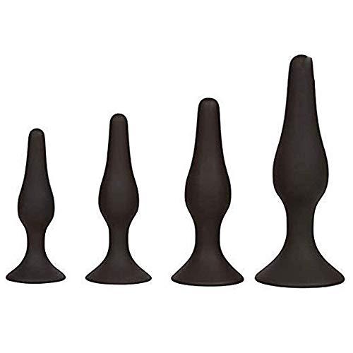 MCMCMCA 4Pcs/Set Soft Medical Silicone Trainer Kit Stimulator Trainer Kit for Men Anales Plǔgs Beginner Set for Beginners Women Men Toys(Black) AnàL Pl'Ugs Massage for Adult Fun Toys