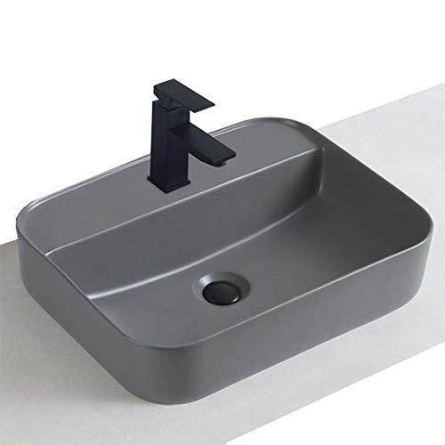 Aufsatzwaschbecken aus Keramik KW8085-50 x 40 x 13 cm - Farbe:Grau Matt, Ablaufgarnitur/Pop-up:Mit Blende Grau matt