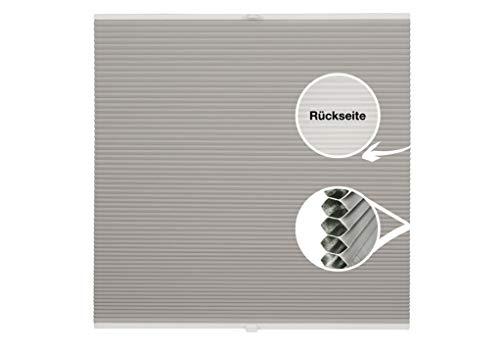Wabenplissee Thermo auf Maß Montage Glasleiste Blickdicht Spannschuh Sonnenschutz Fensterrollo Fachhandelsqualität Hellgrau B: 61-70 cm, H: 101-150 cm
