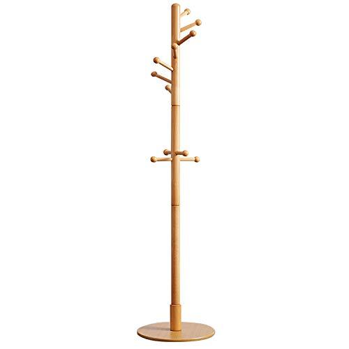 TinyTimes Garderobenständer, Kleiderständer, Holz, Stabil, Runde Basis, Mutiger Hauptpol,11 Haken,Stabiler Fuß, 40 × 40 × 178 cm (Natur)