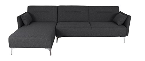 Container Furniture Direct Elle Collection Minimalist Contemporary Upholstered Linen Fabric Left-Facing Sectional Sofa Bed with Chaise, Dark Grey