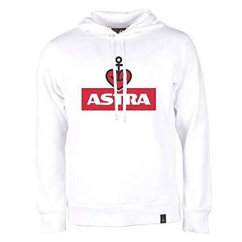 ASTRA Hoodie Unisex, weiß, bequemer Pullover mit Kapuze, Cooler Kapuzen-Pulli mit Aufdruck, für Damen & Herren, Sweater aus St.Pauli (L)