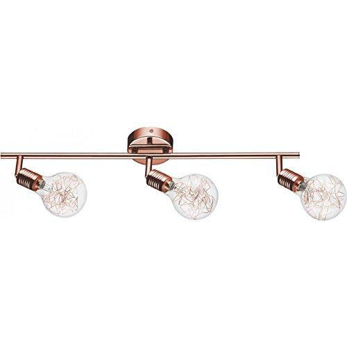 Paris Prix - Plafonnier Spot 3 Têtes Bulbs 58cm Cuivre