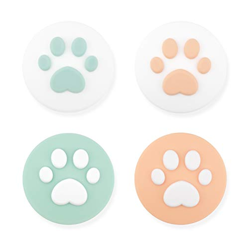 GeekShare 4PCS Silicone Cat Claw Joy Con Thumb Grip Set-Nintendo Cover Analog Thumb Stick Grips-Joystick Button Caps for Switch and Switch Lite Controller(Green & Orange)