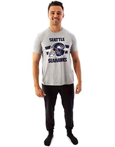 NFL Teams Seattle Seahawks Helm Herren Langes Pyjama T-Shirt & Lounge Pant Set