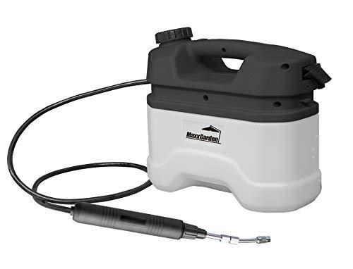 MaxxGarden - Pulverizador a presión para el jardín (5 litros) - Botella con batería y correa para el hombro - Práctica botella de riego para plantas - Herbicida (33 x 20 cm) blanco