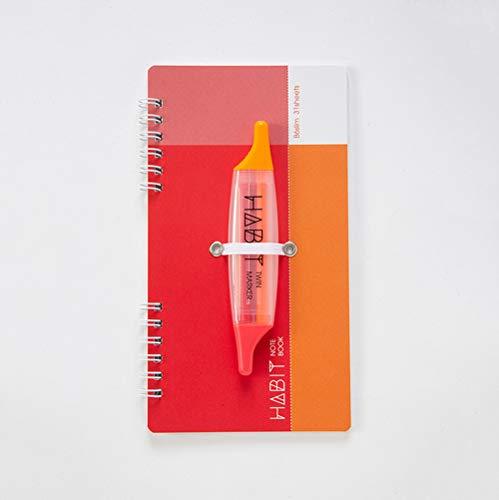 トラッカーを塗りつぶす際に使うマーカーを一緒に携帯できる便利なノートが、ナカバヤシの「HABIT」。  手早くいつでも記入できるから、やる気になったタイミングを逃さずより継続につながりやすいはず。記入し忘れもなくなるのが嬉しいですね。