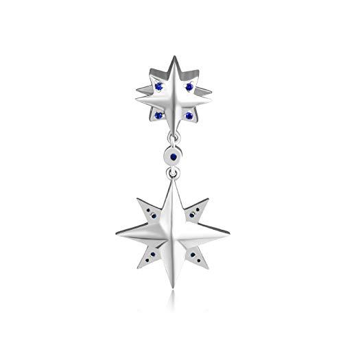 Pulseras para mujer con abalorios de plata de ley 925, diseño de estrella de los deseos con azul 100% plata de ley 925