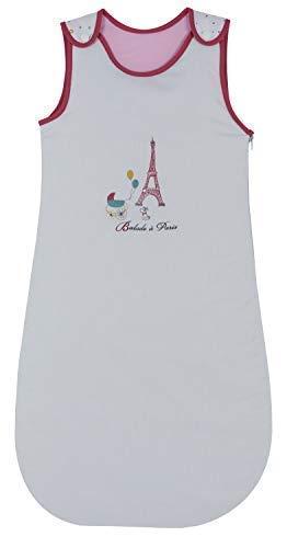 P'tit Basile - Gigoteuse brodée 6-24 mois - 90 cm - collection Little Paris rose - toutes saisons TOG 2 - Coton Bio certifié oekotex - turbulette fille