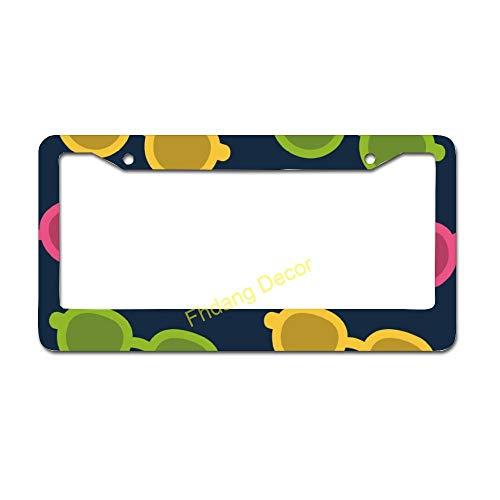 Marco de matrícula de coche con diseño de gafas de sol, accesorios de aluminio para matrícula de coche, con 2 agujeros, decoración de autos, regalo de coche nuevo 15,2 x 30,4 cm