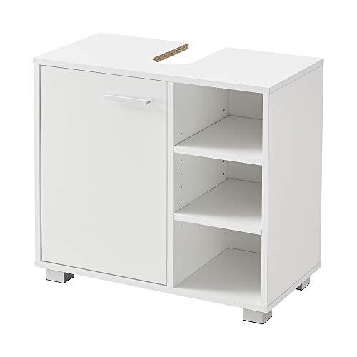 [en.casa] Waschbeckenunterschrank 56 x 60 x 31 cm Badezimmerschrank mit Siphonausschitt Badschrank mit Schranktür 3 Ablagefächern Weiß