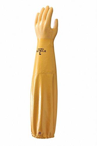 Showa - Gants nitrile long trempés support polyamide coton NI772 - Couleur : Orange - Taille : 10