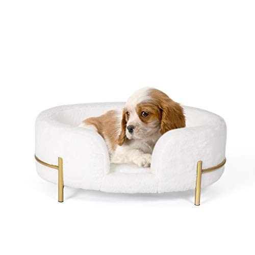 Joveco Small Dog Bed- Upholstered Dog Lounge Raised Dog Bed- Small Dog Sofa Couch Pet Snuggle Bed- Pet Cot Bed Elevated Pet Bed- Pets Patio Furniture Dog Cot Dog Chairs for Small Dogs (White)