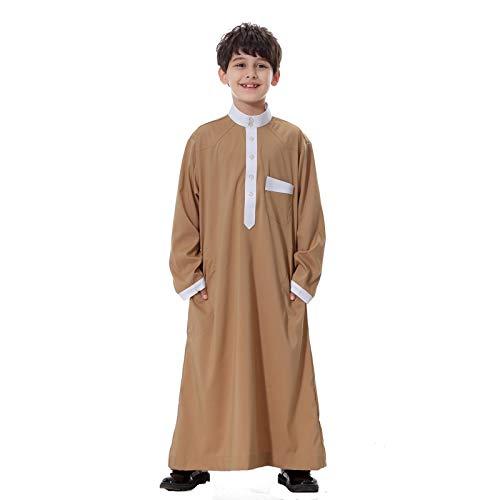 Beudylihy Traje musulmán para chico, ropa bordada, bata para hombre, caftán, tradicional, étnico árabe, árabe, manga larga, cuello redondo, con cremallera Marrón A. 10-11 años