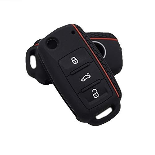 LOOIUEX Silicone Key Cover Funda de Silicona para Llave de Coche para VW Golf para Skoda Yeti Superb Rapid Octavia para Seat Leon Ibiza Control Remoto de 3 Botones