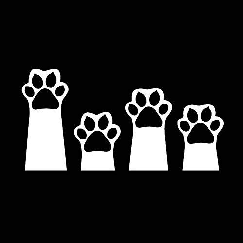 2 unidades de 17.6X8.9CM gato Interesante patas de dibujos animados Animales de animal doméstico de la decoración del coche del vinilo de la etiqueta pegatinas Negro/Plata (Color Name : Silver)