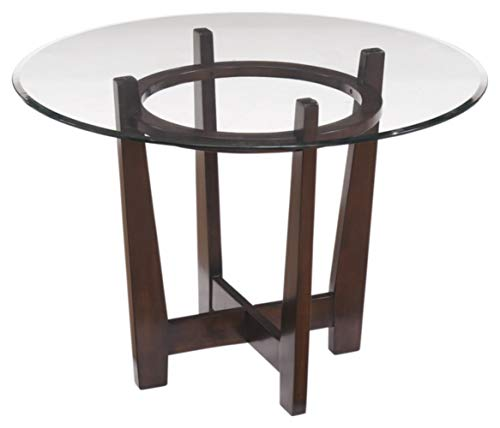 Signature Design By Ashley - Charrell Dining Room Table - Glass Top - Round - Medium Brown