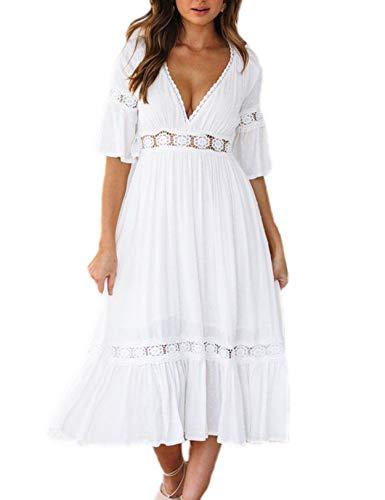 Vestido Mujer Bohemio Largo Verano Playa Fiesta Floral Manga Larga Cuello en V Maxi Vestidos Cóctel Falda Larga Vestido Swing (Blanco, x_l)