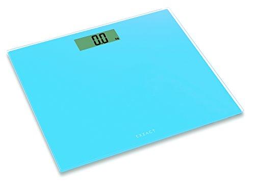 EXZACT ColorSlim – Báscula Corporal Electrónica/ Báscula de Baño Digital/ Escala Personal - Ultra Delgada 1.7 CM Espesor -150 kg / 330 lb - Plataforma de Vidrio de Color (Azul)