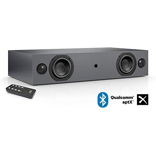 Nubert nuBox AS-225 Soundbar   Stereoboard für HiFi & Musikgenuss   TV-Lautsprecher mit Bluetooth aptX   Soundbase mit 2 Wege Technik   vollaktive Stereobase für Spitzenklang   Sounddeck Grau