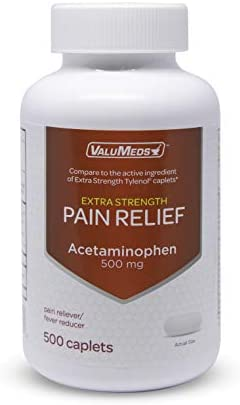 ValuMeds Acetaminophen 500mg 500 Caplets Extra Strength Pain Relief product image