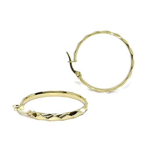 Pendientes aros de oro amarillo de 18k de 3mm de anchos con rizo y cierre fácil click.